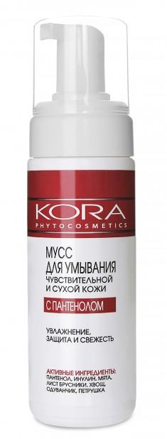 KORA Мусс для умывания чувствительной и сухой кожи с пантенолом 160 мл