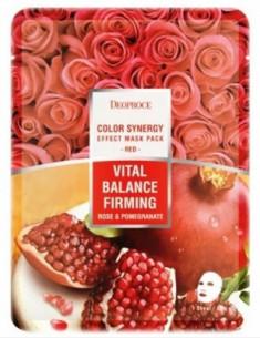 Маска с гиалуроновой кислотой, гранатом и розой DEOPROCE Color synergy effect sheet mask red 20г