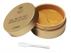 премиальные патчи для глаз с муцином улитки и золотом l'sanic snail and 24k gold premium eye patch