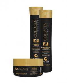HONMA TOKYO Набор для очень сухих химически поврежденных волос (шампунь 300 мл, кондицинер 300 мл, маска 300 мл) Collagen Caviar