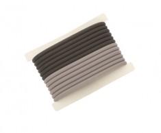 DEWAL PROFESSIONAL Резинки для волос силиконовые, черные/серые 12 шт/уп