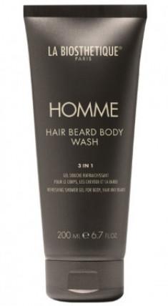 Гель для тела, волос и бороды очищающий, увлажняющий и освежающий La Biosthetique Hair Beard Body Wash 200 мл
