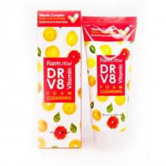 очищающая пенка с комплексом витаминов farmstay dr-v8 vitamin foam cleansing
