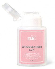 E.MI Средство для обезжиривания ногтей и снятия липкого слоя, с помпой / Eurocleanser LUX 200 мл