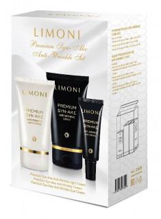 LIMONI Набор для лица (крем 50 мл, крем для век 25 мл, крем легкий 50 мл) / Premium Syn-Ake Anti-Wrinkle Care Set