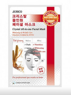 Маска тканевая c красным женьшенем Mijin Junico Crystal All-in-one Facial Mask Red ginseng 25г