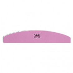 ruNail, Пилка для искусственных ногтей, розовая, полукруглая, 150/180