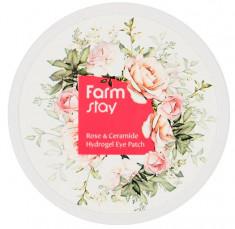 FARMSTAY Патчи гидрогелевые увлажняющие с экстрактом дамасской розы и керамидами для области вокруг глаз 60 шт