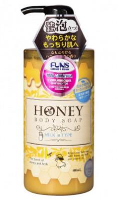 Гель для душа с экстрактом меда и молока FUNS Honey Milk 500 мл