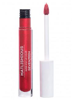 Помада-блеск для губ жидкая Красный с искрой SEVENTEEN