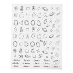 Monami Professional, Наклейки №433 «Фигуры микс», серебро