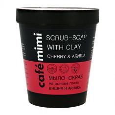 Cafe mimi мыло-скраб на основе глины Вишня и Арника 220мл КАФЕ КРАСОТЫ