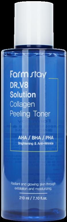 FARMSTAY Тонер обновляющий укрепляющий с коллагеном и AHA/BHA/PHA кислотами / DR.V8 SOLUTION HYALURONIC 210 мл