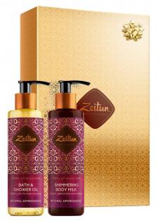 ZEITUN Набор подарочный Минуты соблазна с натуральными афродизиаками (масло для душа 200 мл, молочко для тела 200 мл)