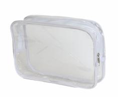 Косметичка прозрачная на молнии Sibel 19*27см, белая