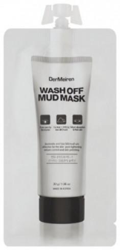 Маска с глиной и морской солью для глубокого очищения пор DerMeiren Wash off mud mask 30г